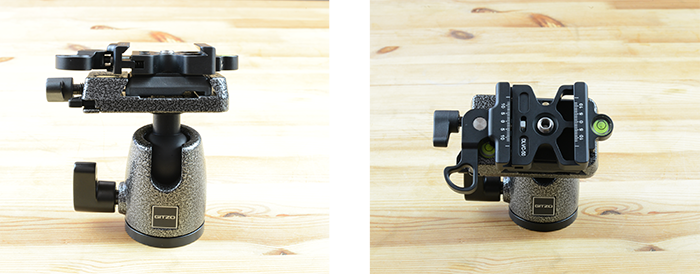 Then attach the ARCA-compatible clamp to the quick-release plate. The Desmond head has a spacer that allows you to put it on either type of tripod mount.